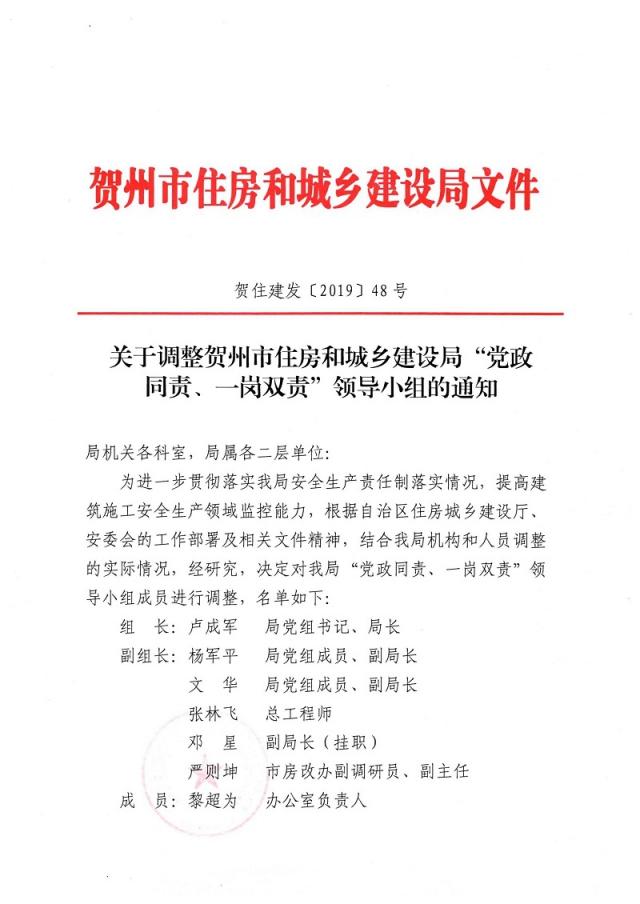"""关于调整贺州市住房和城乡建设局""""党政同责、一岗双责""""领导小组的通知_页面_1.jpg"""
