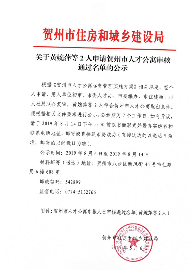 关于黄婉萍等2人申请贺州市人才公寓审核通过名单的公示_页面_1.jpg