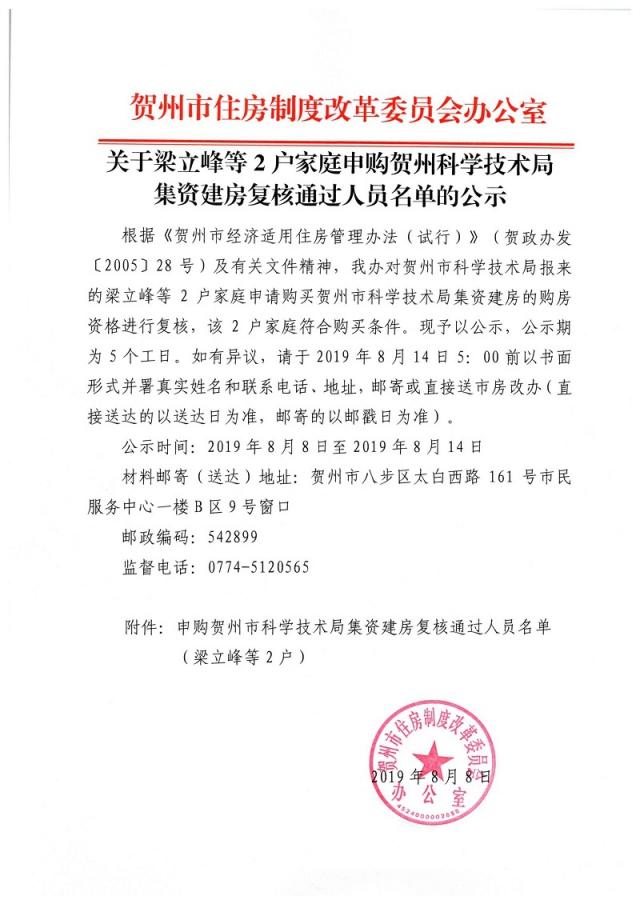 关于梁立峰等2户家庭申购贺州科学技术局集资建房复核通过人员名单的公示_页面_1.jpg